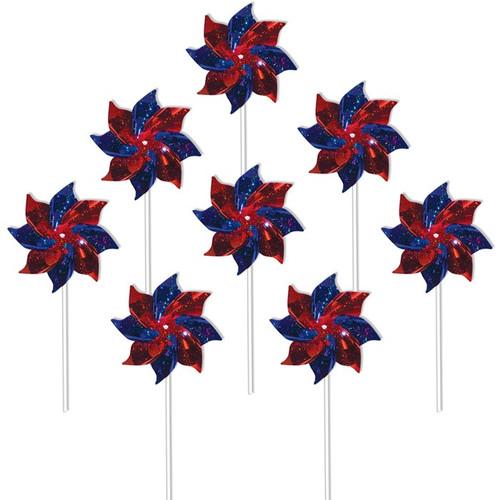 Mylar Pinwheels - Blue & Red - 8 PC