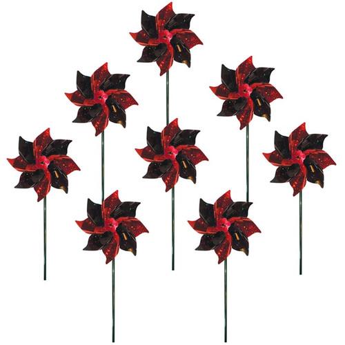 Mylar Pinwheels - Red & Black - 8 PC