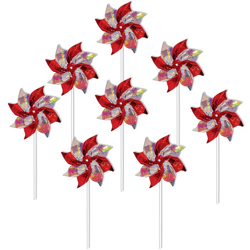 Mylar Pinwheels - Red & Silver - 8 PC