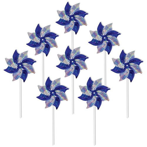 Mylar Pinwheels - Blue & Silver - 8 PC