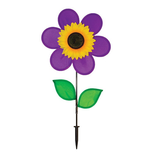 "Flower Spinner - 12"" Purple Sunflower with Leaves"