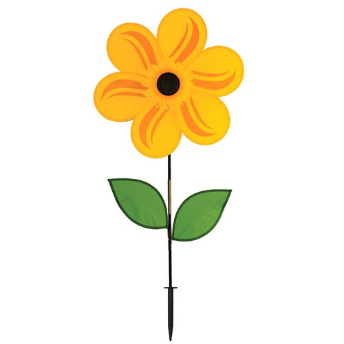 """Flower Spinner - 19"""" Yellow Sunflower with Leaves"""