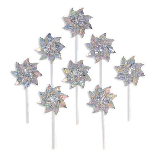 Mylar Pinwheels - Silver Sparkle - 8 PC