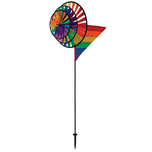Wind Spinner - Rainbow Triple Wheel with Wind Sail