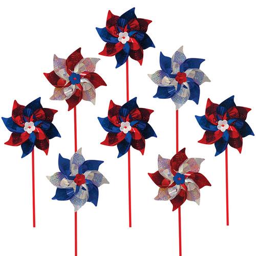 Mylar Pinwheels - Patriotic - 8 PC