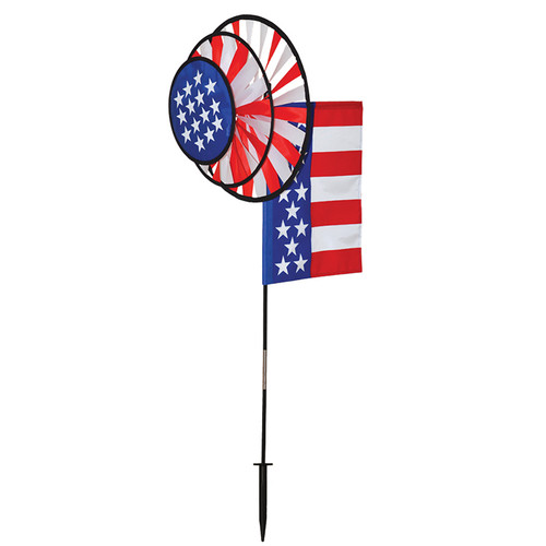 Wind Spinner - USA Flag Dual Spinner Wheels with Garden Flag