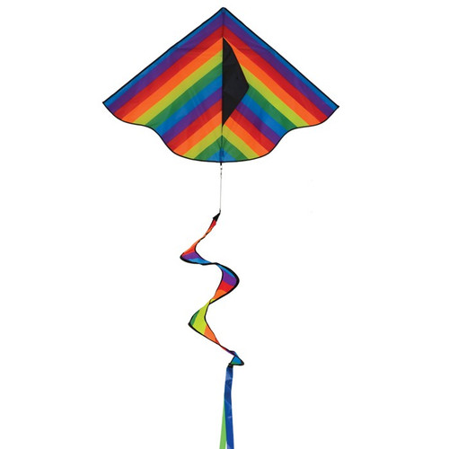 "Delta - 46"" Rainbow Stripe Kite with Spinning Tail"