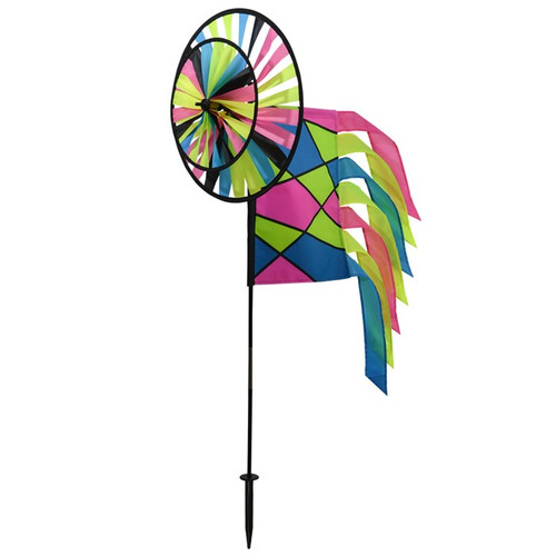 Wind Spinner - Neon Colorblock with Garden Flag & Tails