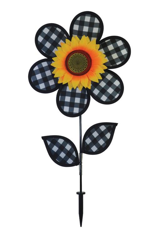 """Flower Spinner - 12"""" Gingham Sunflower with Leaves"""