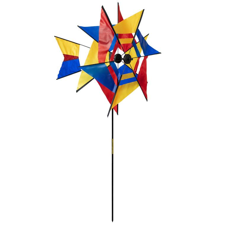 Red, Blue, and Yellow Kaleidoscope Windmill
