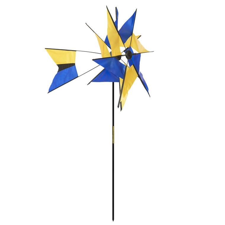 Blue and Yellow Kaleidoscope Windmill