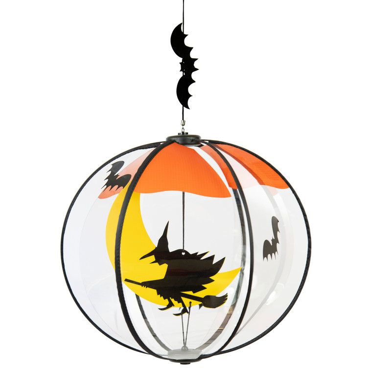 Flying Halloween Witch Spinning Globe