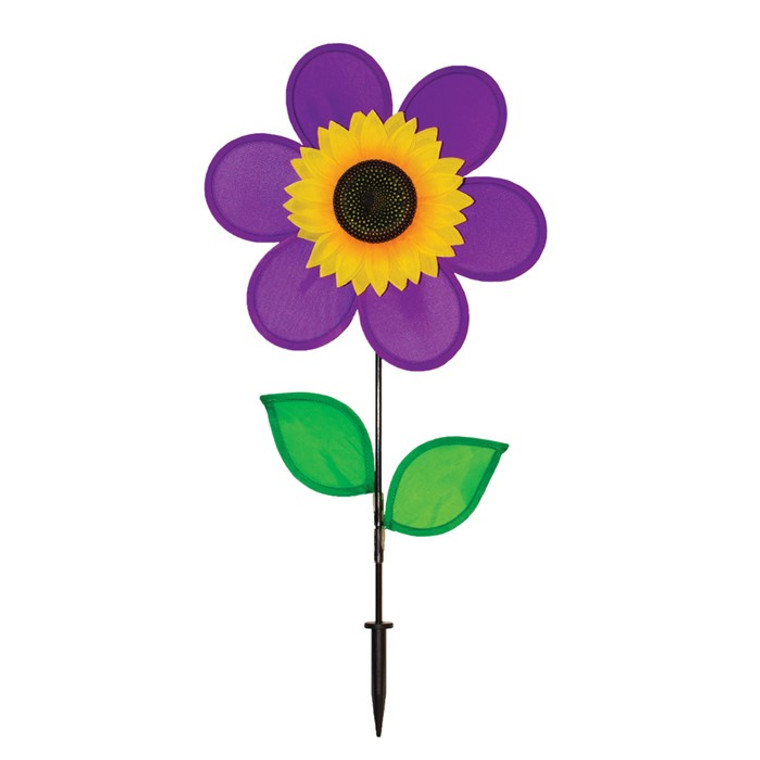 "Flower Spinner - 12"" Purple Sunflower with Leaves"
