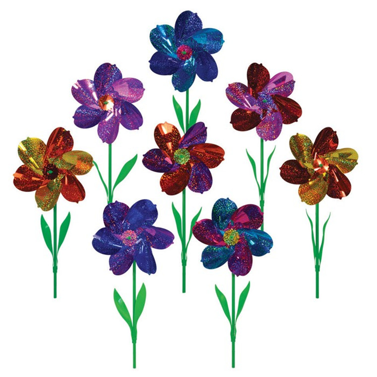 Mylar Pinwheels - Asst. Colored  Flowers with Leaves - 8 PC
