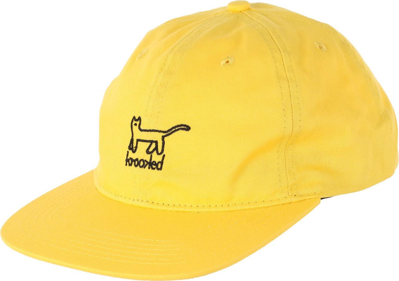 b20b1e7ed Krooked Kat Emblem 6panel Hat Yellow Strapback