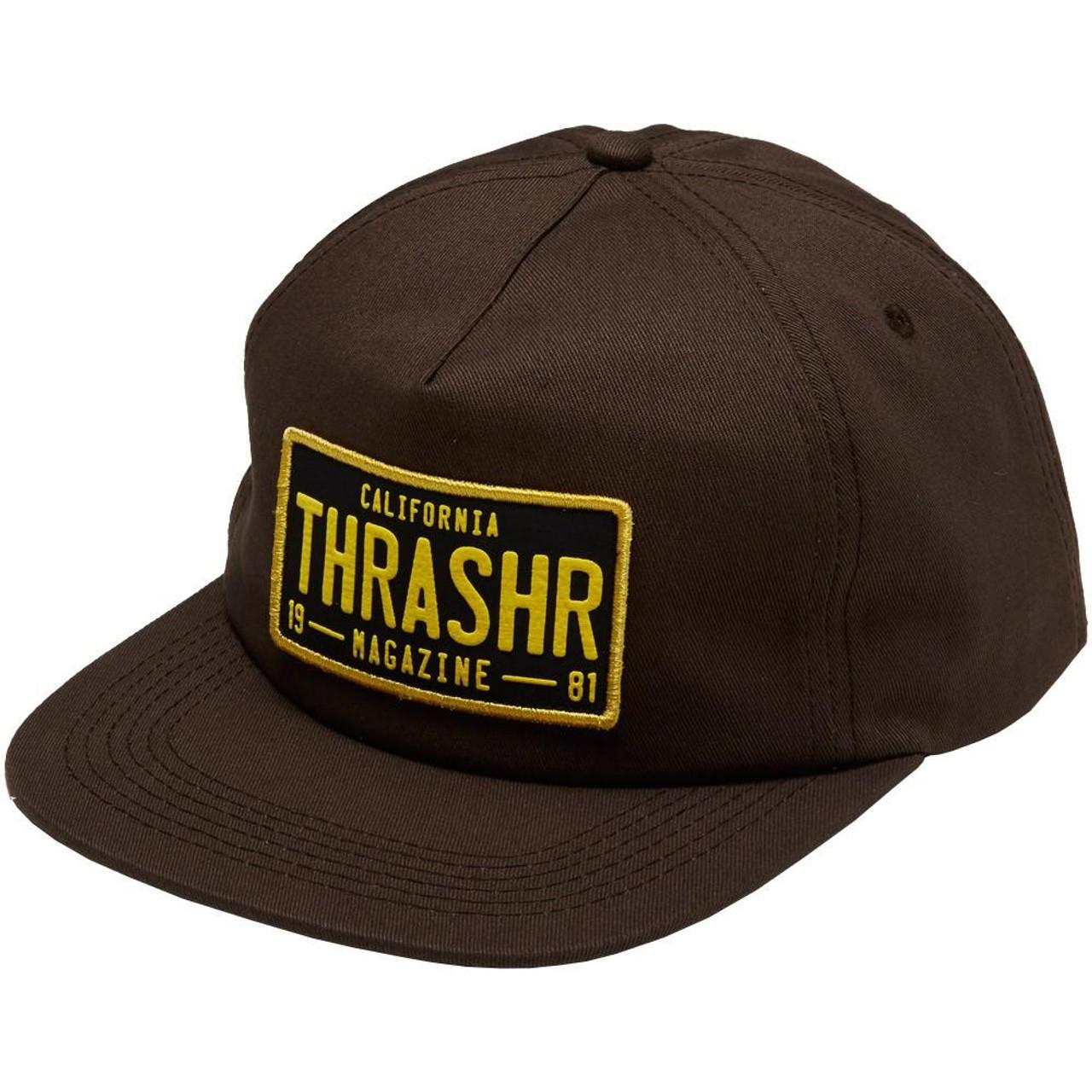f40b6c6f1 Thrasher DMV Snapback Hat Brown Black Snapback