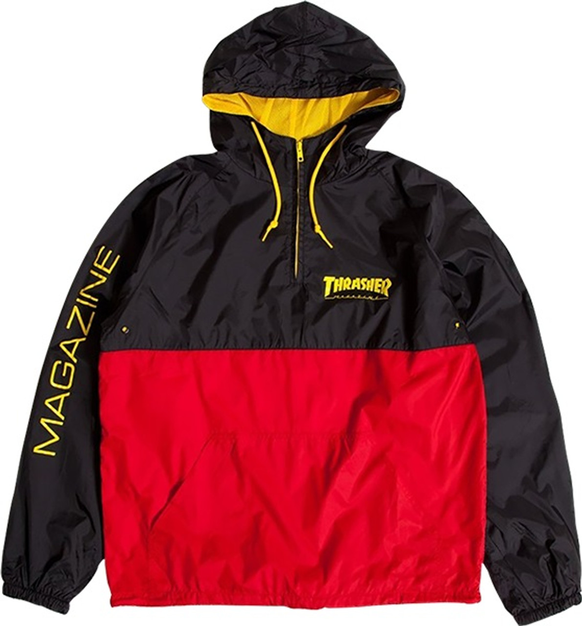 Thrasher Mag Logo Hooded Anorak Jacket Black Red Yellow