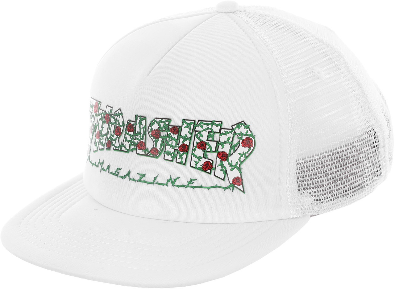 0f55f92a2fe ... Thrasher Roses Mesh Trucker Hat White Snapback