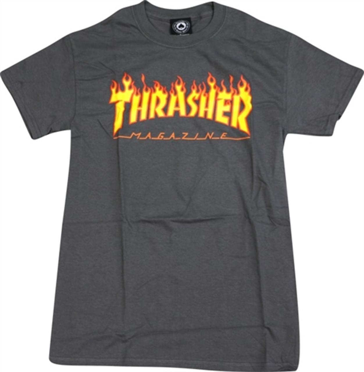 Thrasher Men/'s Flame Short Sleeve T Shirt Black Clothing Apparel Skateboarding
