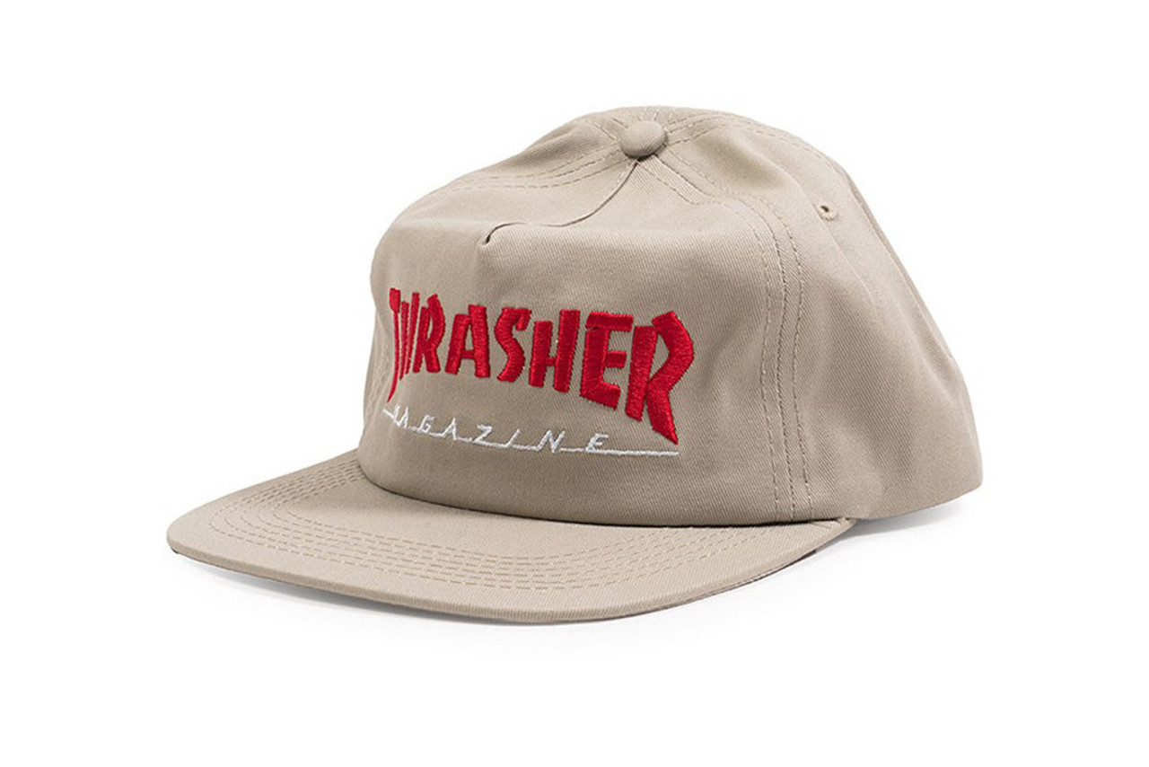 dca41c197 Thrasher Two Tone Mag Logo Hat Tan Red Snapback