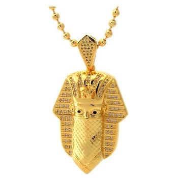 677f1a840 King Ice CZ Bandana Pharoah Necklace 14k Gold 2mm 30