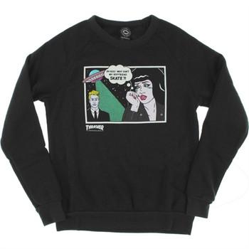a8b6eb90fea9 Thrasher Boyfriend Crewneck Sweatshirt Black Girls