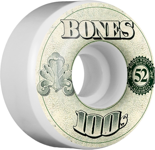 BONES 100's OG #11 52mm WHITE W/MONEY WHEELS SET