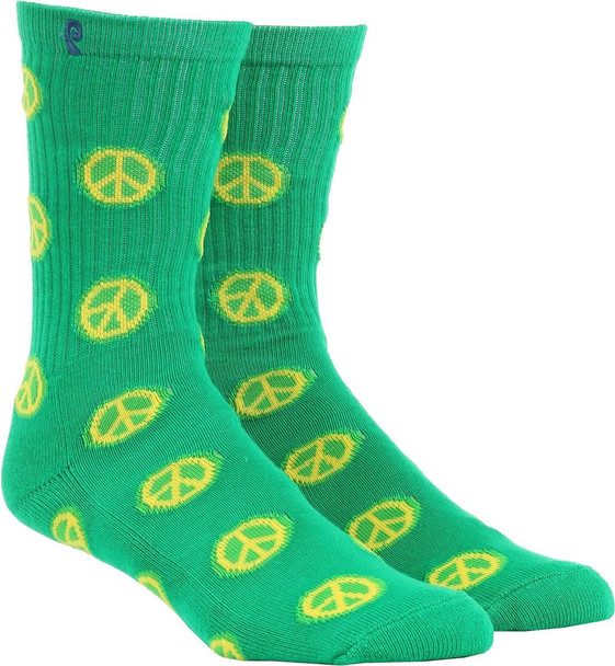 Psockadelic Peace Sign Socks Green Yellow OneSize