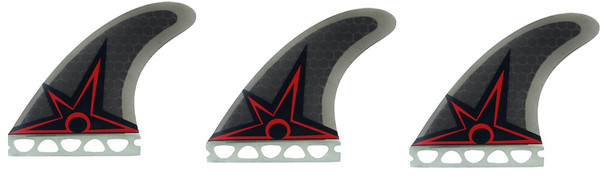 Kinetic Racking Bruce Irons Ultra Core TriFin Future Fins Black Red S-M