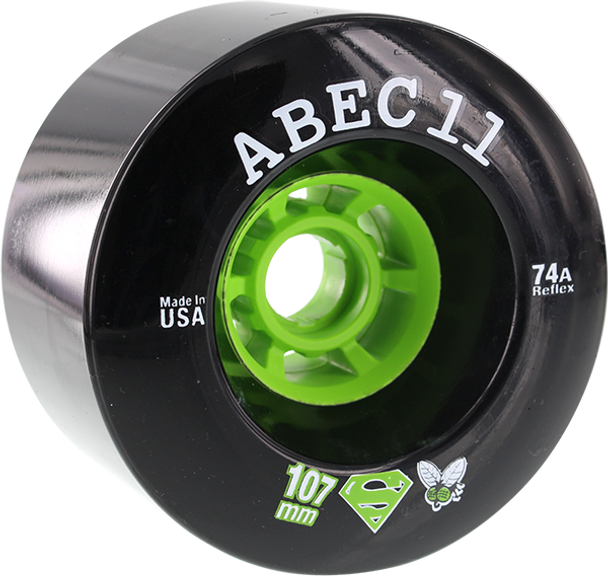 ABEC11 SUPERFLY ELECTRIC FLYWHEELS OFFSET 107mm 74a BLACK WHEELS SET