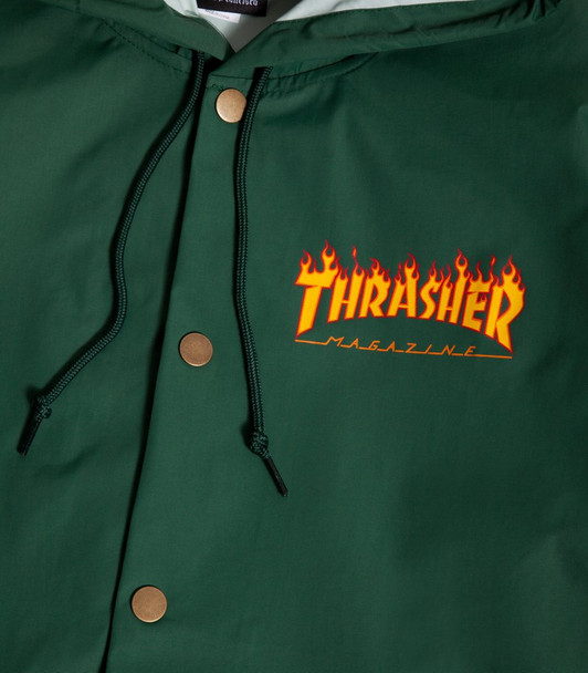 375d64868b07 Thrasher Flame Logo Coaches Jacket Forest Green