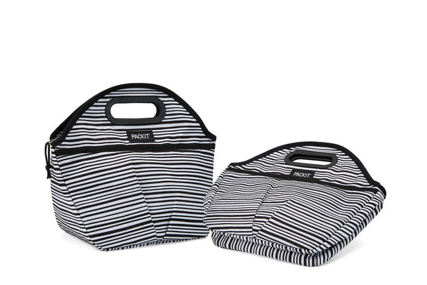 "Packit Traveler Lunch Bag Wobble Stripe Grey 11.5""x14""x6"""