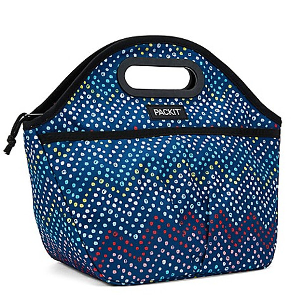 "Packit Traveler Lunch Bag Dottie Blue Chevron 11.5""x14""x6"""
