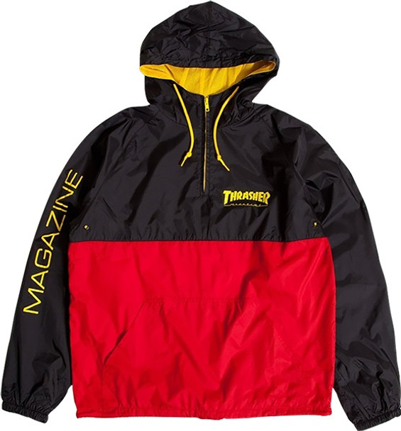 4f4b07fa267 Thrasher Mag Logo Hooded Anorak Jacket Black Red Yellow ...