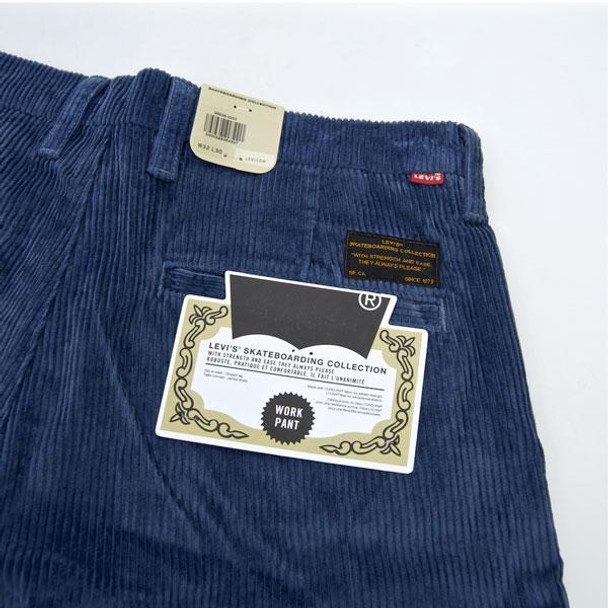 Levis Skate Pleated Trousers Blue Wide Cord