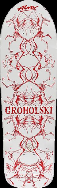 ALVA GROHOLSKI GUEST SKATE DECK-12x37 WHT/RED w/MOB Grip