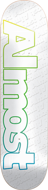 ALMOST FADED OUTLINE SKATE DECK-7.75 WHITE w/ MOB GRIP