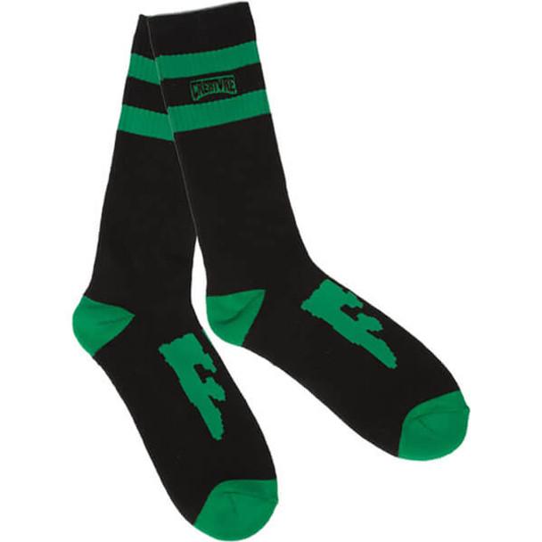 Creature CSFU Crew Socks Black Green OneSize