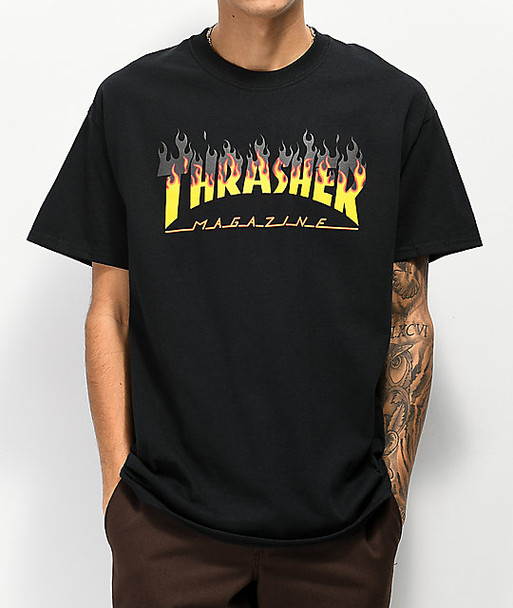 Thrasher Intro Burner Flame Logo T-Shirt Tee in Black in size S,M,L