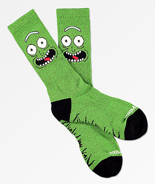 Primitive Pickle Rick and Morty Crew Socks Green OneSize