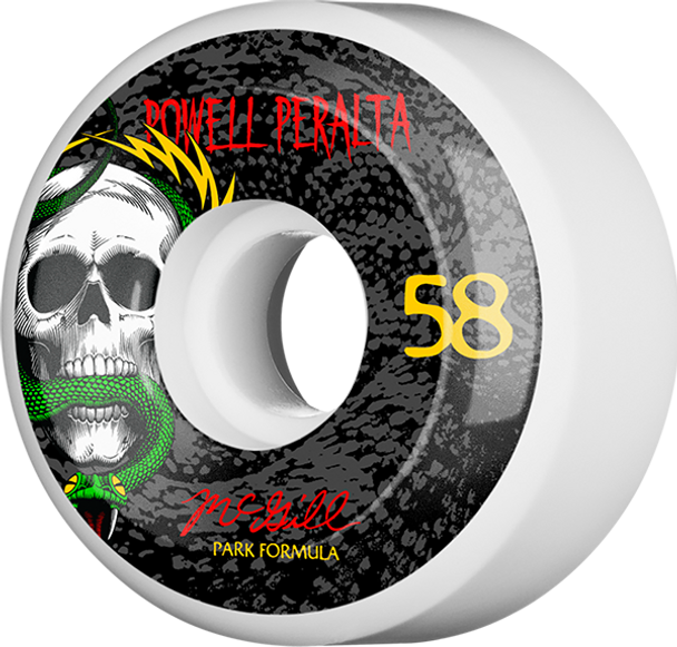 POWELL PERALTA MCGILL SKULL & SNAKE 4 PF 58mm WHT/BLK 103a WHEELS SET