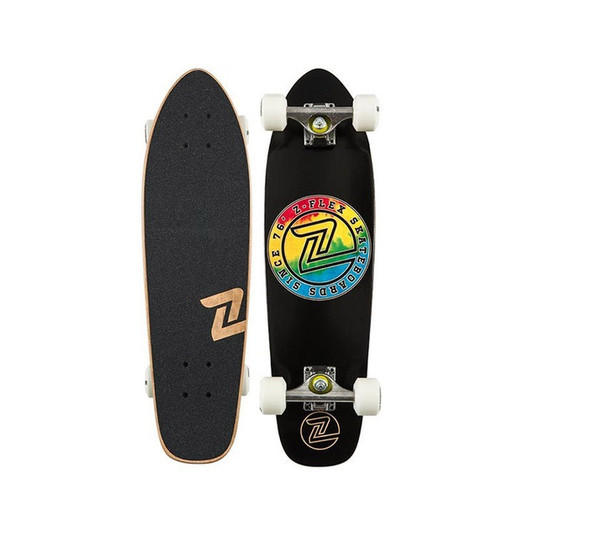 Z-Flex Circle Cruiser Skateboard Complete Black Tiedye 27""