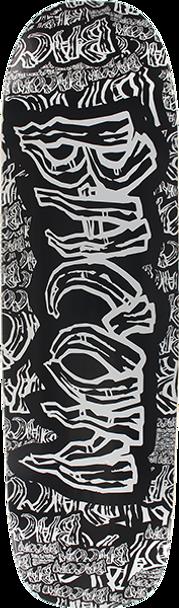 BACON COLLAGE FONT SKATE DECK-8.6x31.75 BLK/GREY w/ MOB GRIP