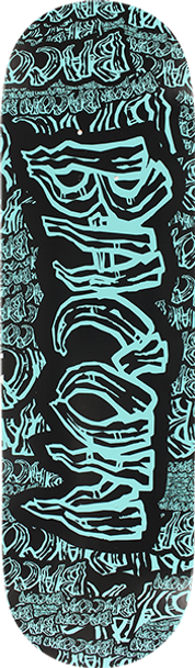 BACON COLLAGE FONT SKATE DECK-9.0 BLK/TURQUOISE w/ MOB GRIP