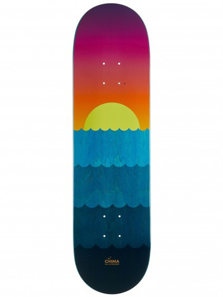 Real Chima Golden Hour Skate Deck Blue Yellow Pink 8.4 w/ MOB Grip
