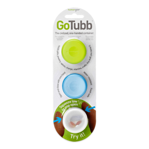 Humangear GoTubb 3 pack Blue Green Clear Small