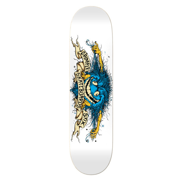 Anti Hero x GrimpleStix Collab Skate Deck White 8.75 w/ MOB Grip
