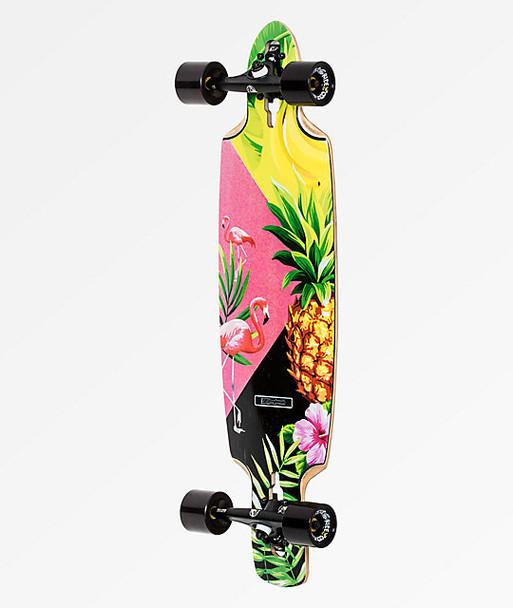 DB Pina Colada Longboard Skateboard Complete Pink Green 9.25x36