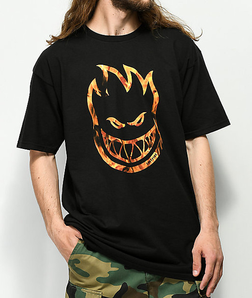 Spitfire Bighead Flames TShirt Black Orange
