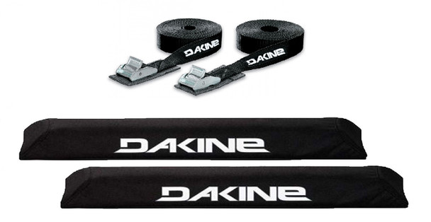 "Dakine Aero XL Rack Pads w/ 12ft Tie Down Straps Black 18"""